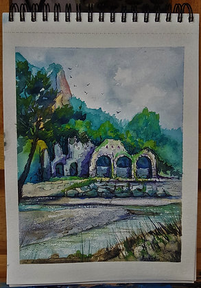 A5 Pen & Watercolour Wash of Olympos, Turkey