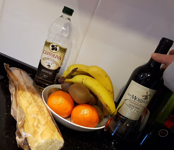 Bread fruit and wine