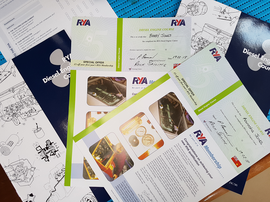 Our certificates for passing the RYA diesel engine maintainance course