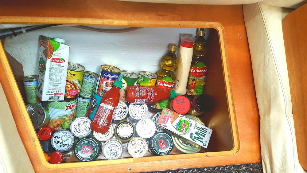 Under seat food storage