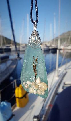 Large Aqua Seaglass Rockpool Pendant