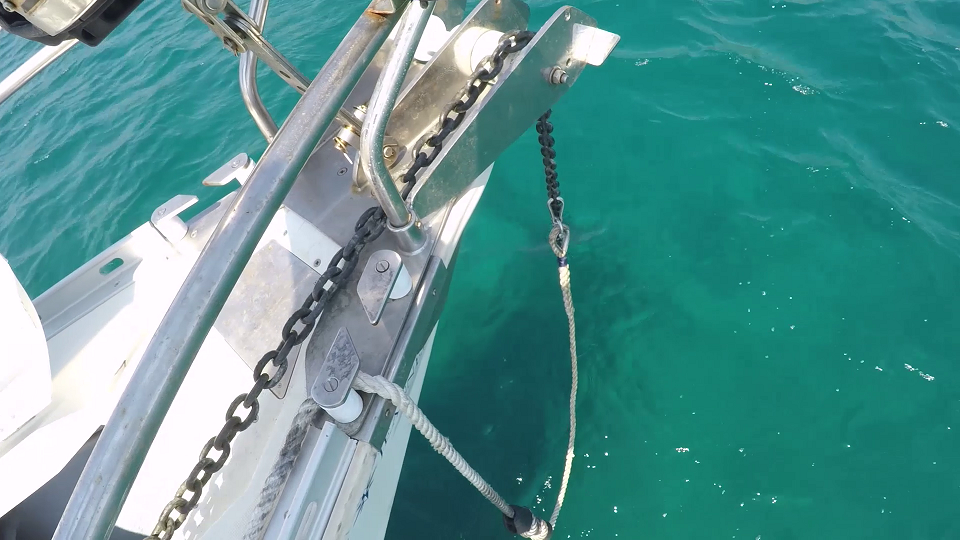 The snubber attached to our anchor chain