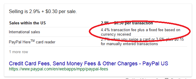 PayPal 4.4% fees