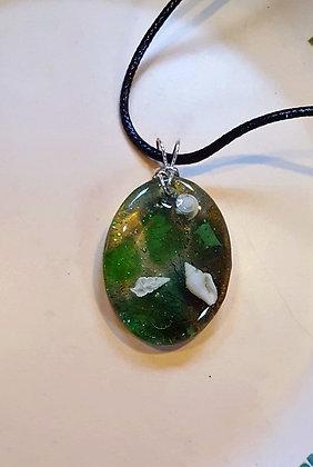 Green UV Resin, Shell and Seaglass pendant