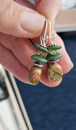 Unakite, Bloodstone and Peridot Earrings