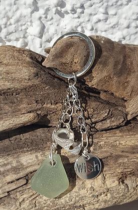 Keyring Aqua Seaglass, Shell & Wish charm