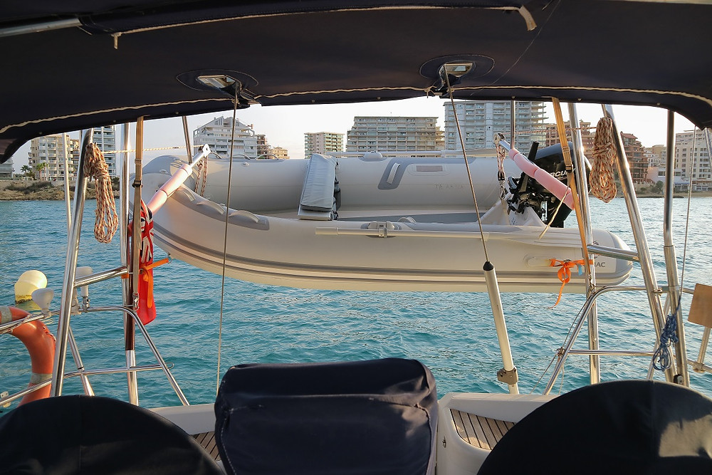 The dinghy on our davits