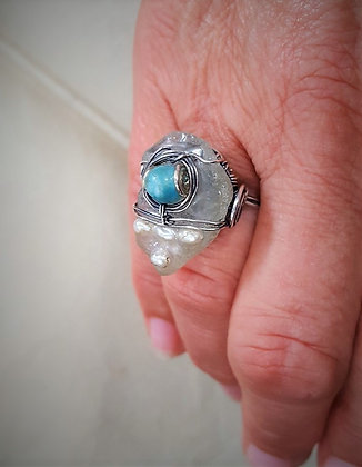 Sea Glass, Pearl, & Chalcedony Silver ring