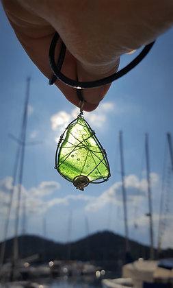 Green Seaglass and Silver pendant