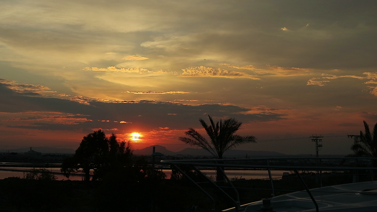 Sunset over Las Salinas marine reserve