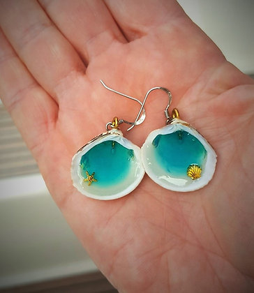 Aqua and Gold Rockpool Earrings