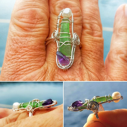 Pearl, Amethyst & Seaglass Silver ring