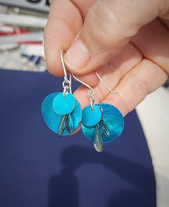Turquoise Shell and Resin Drop earrings