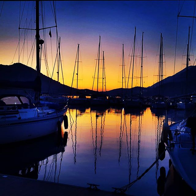 Sunset view of Kaş marina a