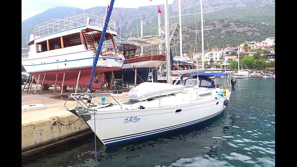 Moored in harbour