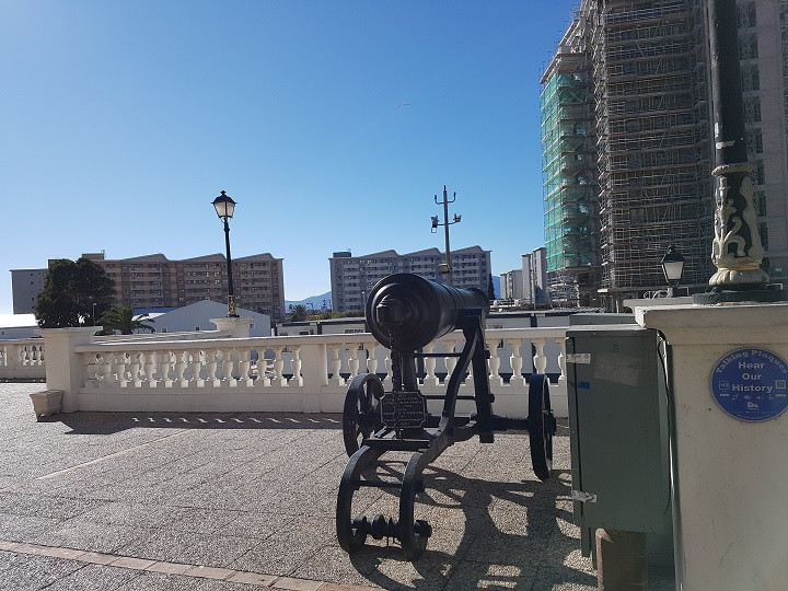 Old cannons line the city walls of Gibraltar