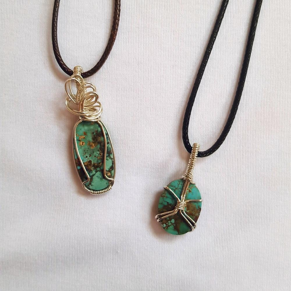 Neyshabur Persian Turquoise 925 silver wire wrapped pendants