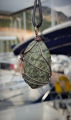 Antiqued silver/copper wrapped green stone