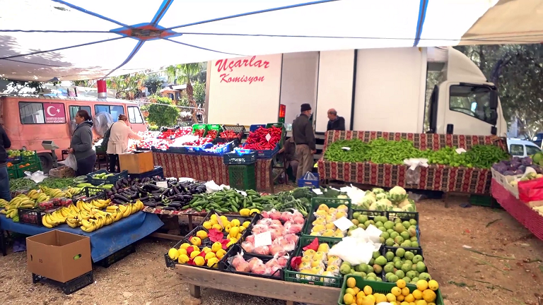 Shopping for veg and fruit at our regular stall
