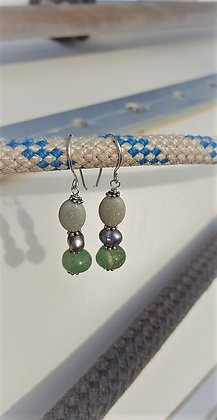 Aventurine, Grey Pearl & Stone Earrings