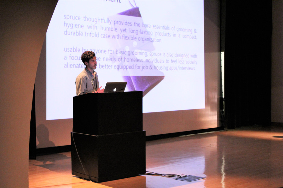 presenting spruce at a design studio semester final presentation