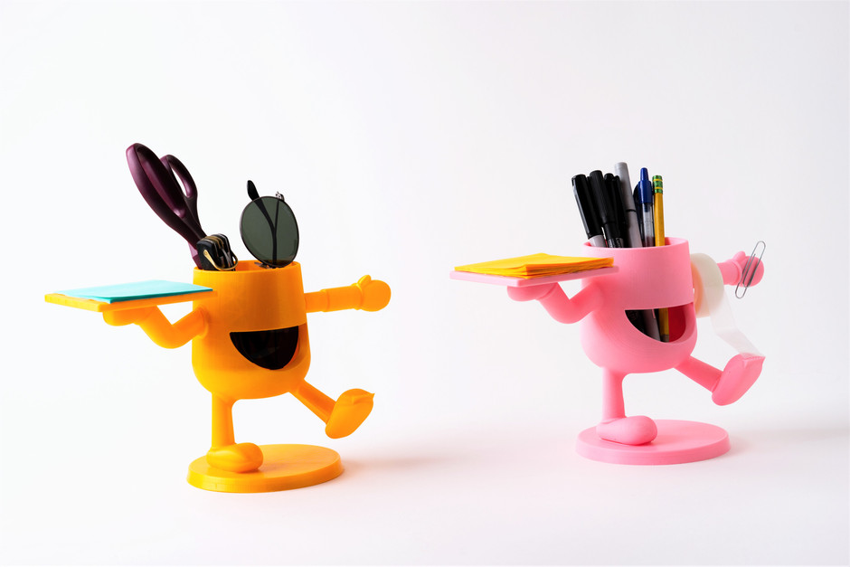 desk buddies are personal organizers for pencils, pens, notepads, business cards, tape, paper clips, or whatever else users imagine