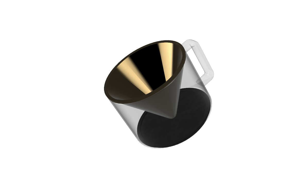 """the cone tray fits the standard 5"""" pourover metal cone with a handle to match the carafe's. the silicon bottom features a slot that holds it in place in the machine"""