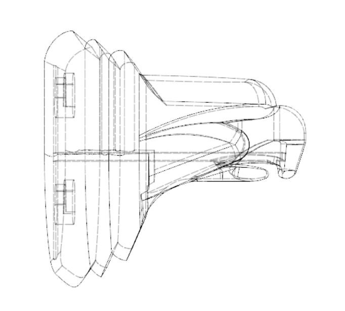 wireframe view of the channel for inserting the magnet, which snaps into place, reducing the need for adhesives