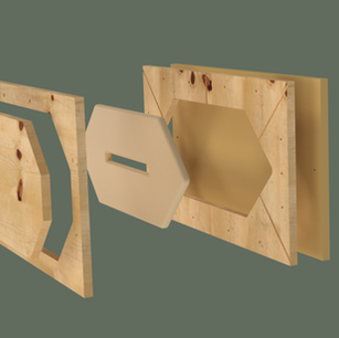 Rendering of three-part mold of a space divider panel module