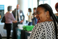 Conference attendee enjoys expo