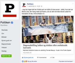 Facebook kommentarer: Politiken: Nøgenudstilling lukker og slukker efter omfattende hærværk