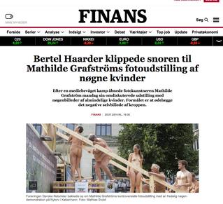 Finans.dk: Bertel Haarder klippede snoren til Mathilde Grafströms fotoudstilling af nøgne kvinder