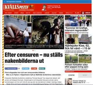 KVÄLLSposten: Efter censuren – nu ställs nakenbilderna ut