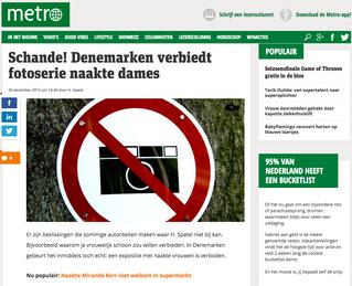 metronieuws.nl: Schande! Denemarken verbiedt fotoserie naakte dames