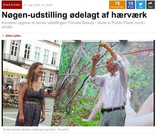 Ekstra Bladet: Nøgen-udstilling ødelagt af hærværk