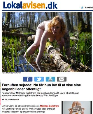 Lokalavisen: Fornuften sejrede: Nu får hun lov til at vise sine nøgenbilleder offentligt