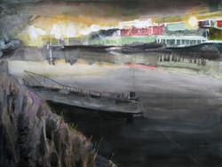 _Brahm's ghost boat_ Gowanus - acrylic on canvas on wood panel 2017