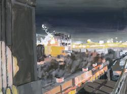 _nightfall on BQE_ Gowanus- 12_x16_ acrylic on canvas on wood panel- 2017