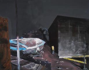 Sandy boat graveyard and tar paper
