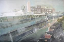 1_socked in Gowanus_ 24_x36_ acrylic on canvas on wood panel- 2017