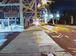 erased Lowe's sign-12_x16_- 9th st. bridge_ Gowanus acrylic on canvas on wood panel-2017