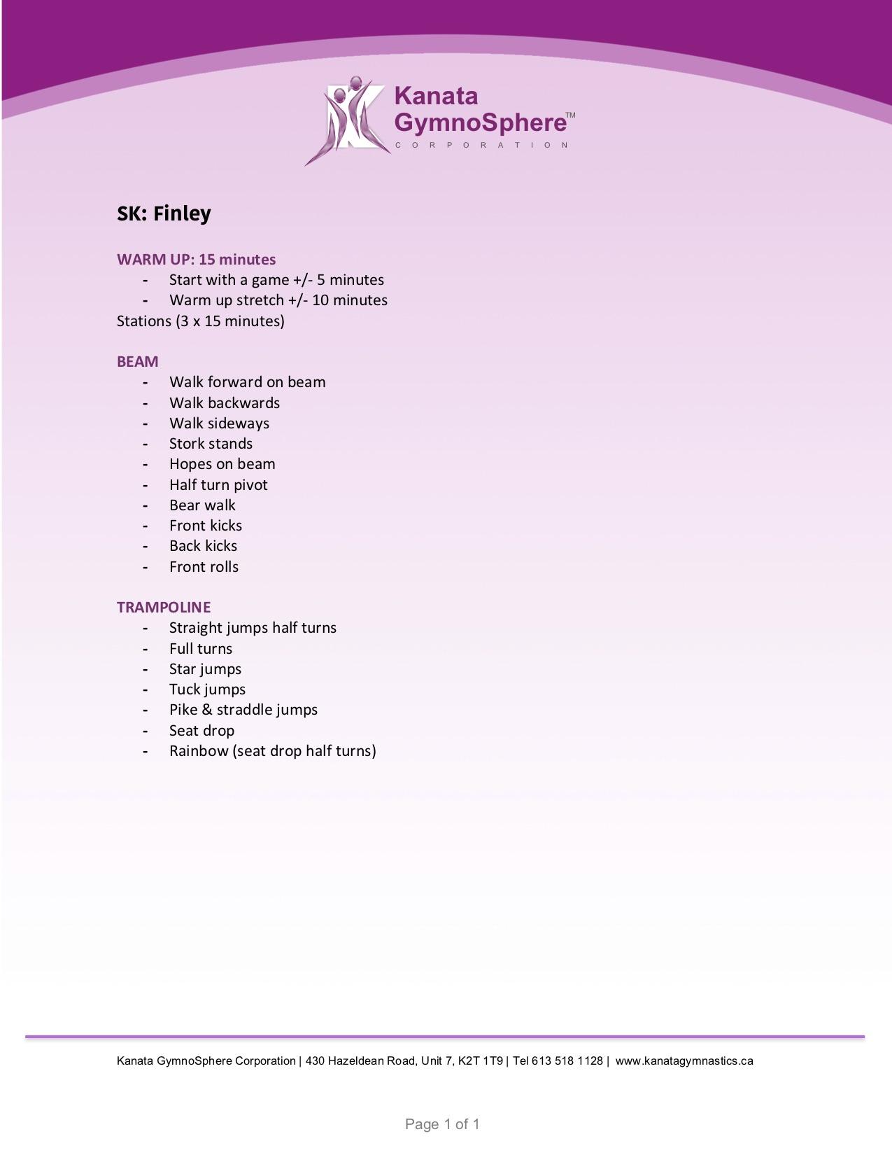 finley week 1