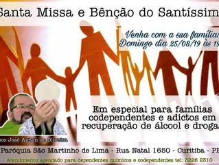 Paróquia São Martinho de Lima convida famílias de dependentes de álcool e drogas para Missa