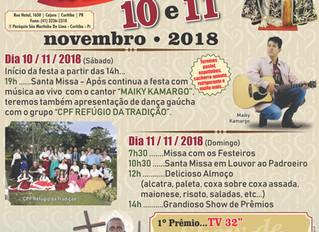 Grandiosa Festa do Padroeiro São Martinho de Lima 10 e 11 Novembro