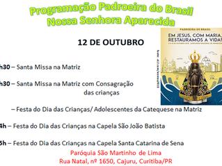 Programação Padroeira do Brasil - 12 de outubro