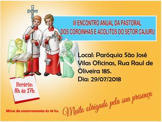 III Encontro Anual da Pastoral dos Coroinhas e Acólitos - 29/07/2018