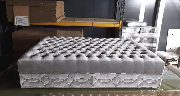 Upholstered and Studded Large Footstool
