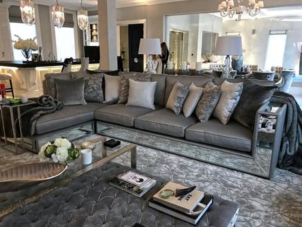 Mirror Edged Sofa and Footstool