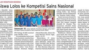 15 Siswa Lolos ke Kompetisi Sains Nasional (KSN 2020)