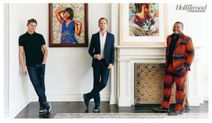Neil Patrick Harris and David Burtka with artist Kehinde WIley. Photo © The Hollywood Reporter.